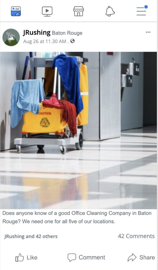 good office cleaning company baton rouge facebook question